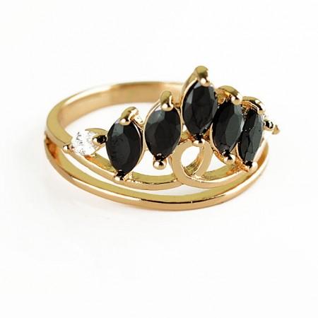 Позолоченное кольцо XP1625-черный фото   Brulik