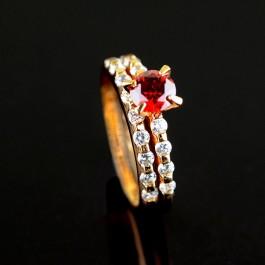 Стильное кольцо с фианитами XP 11478 - красный
