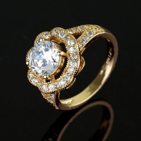 Позолоченное кольцо XP 1304-белый фото | Brulik