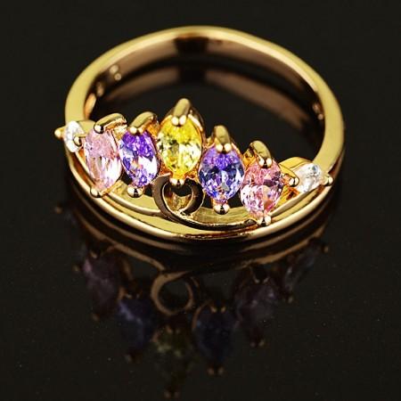 Позолоченное кольцо XP1625-мультиколор фото | Brulik