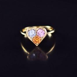 Симпатичное кольцо с фианитами в позолоте 10-1126-мультиколор