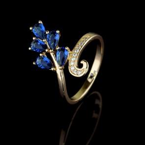 Позолоченное кольцо XP 1652-синий фото | Brulik