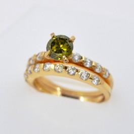 Стильное кольцо с фианитами XP 11478 - зеленый