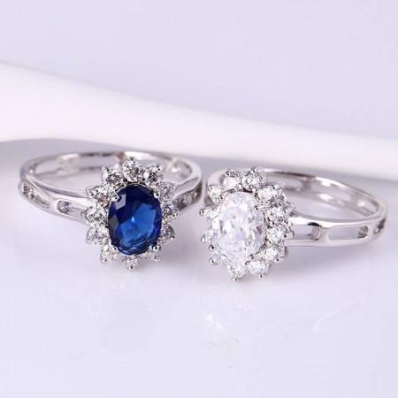 Кольцо с синим фианитом 12045 фото | Brulik