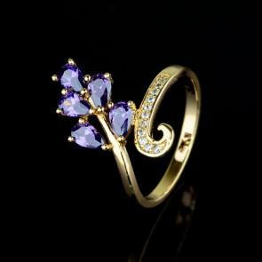 Позолоченное кольцо XP 1652-фиолетовый фото | Brulik