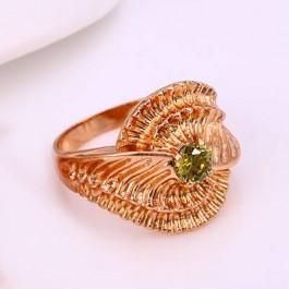 Шикарное позолоченное кольцо 12211 - зеленый