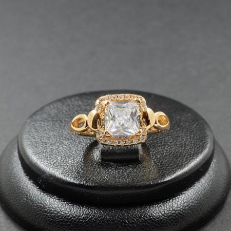 Позолоченное кольцо с фианитами XP 1182 фото | Brulik