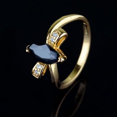 Позолоченное кольцо XP1942-черный фото | Brulik